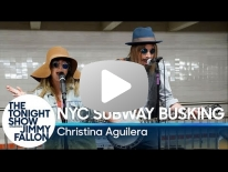 Christina Aguilera Busks in NYC Subway in Disguise.